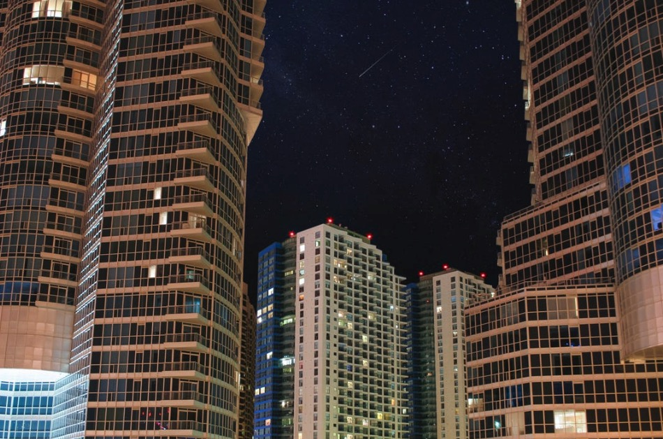 Tall buildings and the night sky