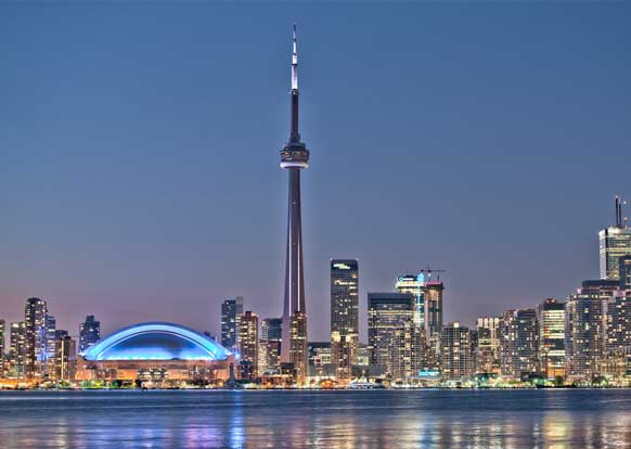Toronto night skyline CN Tower